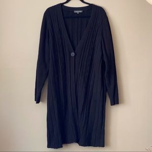 Addition Elle black cable-knit long cardigan